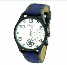 DOOKA Chaxigo Men's Military Style Army Leather Strap Watch 2016-1 (Blue/White)