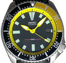 """Vintage diver mens SEIKO 7002 mod w/all YELLOW """"Gimlet"""" hand set & Chapter Ring!"""