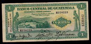 GUATEMALA  1  QUETZAL 1942  PICK # 14a  F-VF.