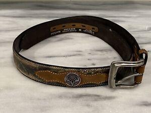 NOCONA Belt Size 36 Leather Hunting Camo Camouflage Brown Deer Skull Metal