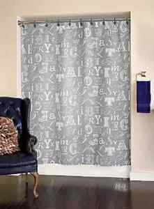 characters and letter fabric Shower Curtain color gray