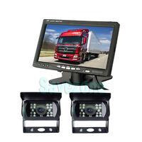 "CAR REAR VIEW KIT for 12V Bus Truck 7"" LCD MONITOR+ 2x IR REVERSING CAMERA 18LED"