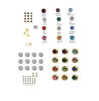 12 Pair Surgical Steel Ear Piercing Stud Earrings Bezel Set Birthstone 2mm Mini