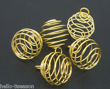 100PCs Hello Gold HOTSELL Plated Spiral Bead Cages Pendants Findings 29x24mm
