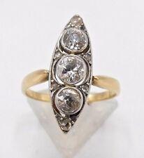 Exclusiver Art Deco 14 Karat Gold Platin Billant Damen Ring Gr. 51 *777*