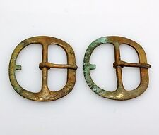Pair (2) Revolutionary War Era Forged Brass Belt Buckles, Excellent Condition!