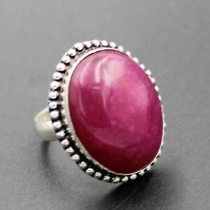925 Silver Plated Created Red Ruby Handmade Ring Size 7.75 US Jewelry RJ176-8