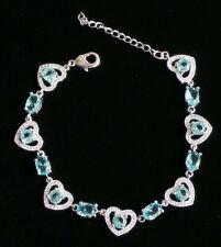 Paraiba Blue Topaz Heart 925 Sterling Bracelet
