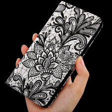 Black Lace girly Multi-function flip Card slot wallet Leather Phone case cover