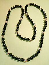Vintage BLACK Colored Lucite Beaded Necklace in Silver Tone