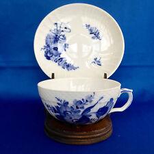 Royal Copenhagen Cup Saucer 1551 Flat Wide Floral Blue Braided Denmark Vintage