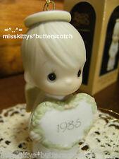 Precious Moments~Ornament~DATED 1985~15768~Boy ANGEL w HEART~God Sent His LOVE
