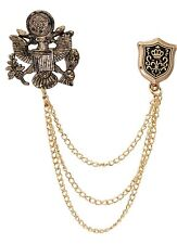 Lapel Pin for Men Royal Eagle Bird With Star Top Hanging Chain And Shield Brooch