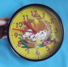 Ancienne Pendule Murale Plastique Chien 101 Dalmatien Disney jaune quartz B.E.