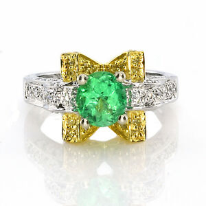 Real 1.38ct Natural Green Emerald & Diamonds Engagement Ring 18K Solid Gold