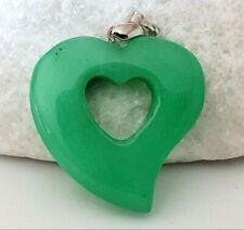 En forma de corazón verde Natural Jade Colgante de piedras preciosas & fianza