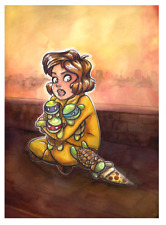 Ninja Turtles Young April Watercolor Cute Anime Girl 4x6 Print Postcard (Sale)
