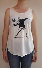 BANKSY Tshirt Vest Tank Top FLOWER BOMB t-shirt ,Molotov cocktail (FLOWER)THROW