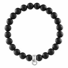 Thomas Sabo Women-bracelet Charm Club 925 Sterling Silver Obsidian Black Length