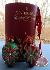 Waterford Holiday Heirlooms Lismore Egg Ornaments - TWO Mint NEW In Box