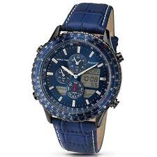 accurist herren chronograph blau zifferblatt blau gurt alarm world timer mb1036nn