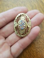 Beautiful Vintage Rhinestone Easter Egg Brooch Pin Gold Tone Pastel Color P38