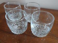 Set of 4 Crown Royal Embossed Etched Glasses Whiskey Rocks Glass Heavy Sunburst