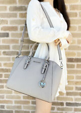 Michael Kors Ciara Large Top Zip Satchel Saffiano Leather Pearl Grey