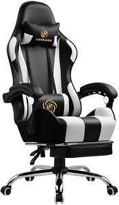 LuckRacer   Black Leather Racing Swivel Gaming Office Chair with Massage Armrest