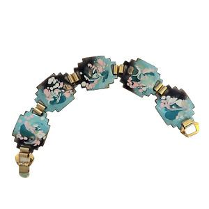 Blue, Pink and Smoke Enameled Copper Link Bracelet