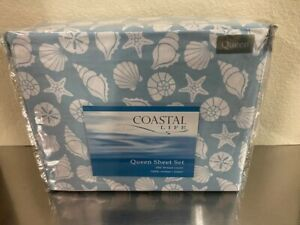 "Coastal Life ""Shells"" Queen Sheet Set Light Blue 100% Cotton 300 Thread Count"