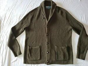 POLO RALPH LAUREN Mens Shawl Collar COTTON Cardigan Knit Pockets OLIVE XL