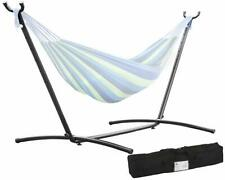 Steel Swing Hammock Stand Space Saving Outdoor Patio 2 Person w/ Carrying Case