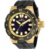 Invicta Men's Watch Pro Diver Yellow Gold Case Blue Dial Black Strap 30721