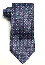 New Men's Bloomingdale's Navy Purple Pines Neat 100% Silk Neck Tie Necktie