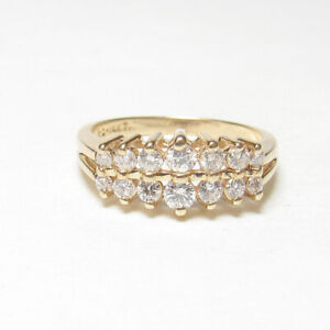Estate 14K Yellow Gold 14 Round Brilliant Cut Diamond Cluster Ring 0.50 Cts