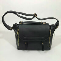 NWT JustFab Black Shoulder Saddle Bag Faux Leather Purse