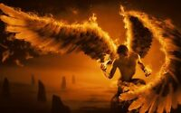 ABSTRACT MAN ANGEL WINGS FIRE WALL ART CANVAS PICTURE PRINT VARIOUS SIZES