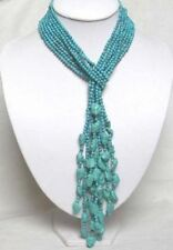 "50"" 4MM Beautiful 4 Rows Turquoise Necklace PN286"