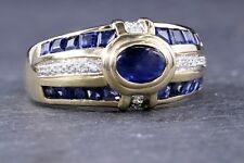 Sapphire and Diamond 14 Kt Yellow Gold Ring