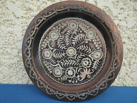 Antique Plate Copper Chiseled Berber? Copper Flat Old Map