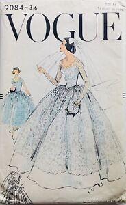 """RARE Vintage VOGUE 50's WEDDING DRESS & SLIP Sewing Pattern BUST 34"""" (V9084)"""