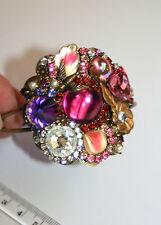Vintage Austrian crystal pink purple swallow bird flower artisan cuff bracelet