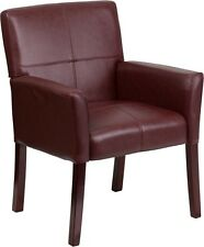 Lot of 26 Burgundy Leather Reception Guest Side Chairs with Mahogany Finish Legs