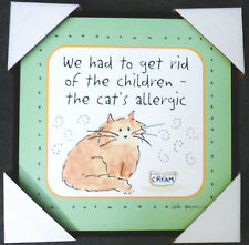 Cat Sign Wall Hanging for Cat Lovers Square 12 1/2 x 12 1/2 Painted Plaque New