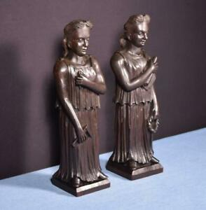 """*13"""" Pair of French Antique Hand Carved Figures in Solid Oak"""