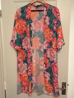 New look Woman's Long Open Beach Cover Up - Brand New - Size Small- Multi Colour