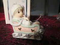 Precious Moments Porcelain Bisque Ornament Baby's First Christmas 2015 GIRL