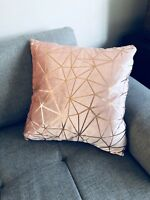 Modern Blush Pink Geometric copper cushion Filled pillow Sofa Bed Rose Gold Home