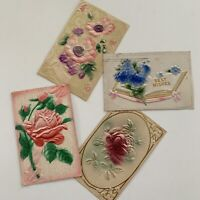 Antique Embossed Postcard Lot (4) Flower Rose Best Wishes Greetings